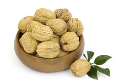 Bowl full of whole walnuts Stock Photography