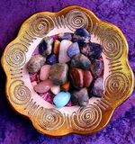 Bowl of gemstones, photographed in South Africa