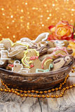 Bowl of gingerbread cookies Stock Image
