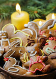 Bowl of gingerbread cookies Royalty Free Stock Photo