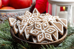 Bowl of gingerbread cookies Stock Photography