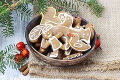 Bowl of gingerbread cookies. Traditional christmas recipe. Stock Photos