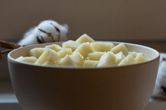 Bowl with goat cheese Pecorino Royalty Free Stock Images