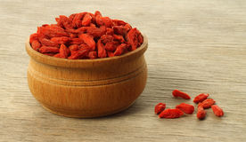 Bowl with goji berries Stock Photography