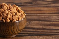 Bowl of Gourmet Butterscotch Baking Chips. A Bowl of Gourmet Butterscotch Baking Chips royalty free stock photography