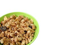 Bowl of granola. A bowl full of granola isolated on white background, with copy space Stock Photography