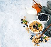 Bowl with granola Royalty Free Stock Photo