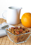 Bowl Of Granola With Fresh Picked Orange Stock Image