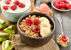 Bowl of granola with fruits and berries for healthy breakfast stock photos
