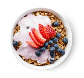 Bowl of granola with yogurt and berries Stock Photography