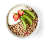 Bowl of granola with yogurt and fresh fruit Royalty Free Stock Photo