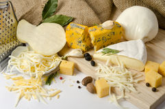 Bowl with grated cheese and spices and cheeses around royalty free stock images