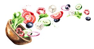 Bowl with Greek salad with fresh vegetables and feta cheese. Watercolor hand drawn horizontal illustration, isolated on white back. Ground stock illustration