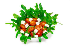 Bowl of greek salad isolated Royalty Free Stock Images