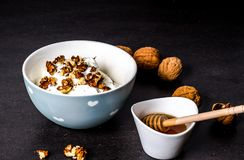 Bowl with greek yoghurt with walnuts and honey Stock Photos