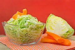 Bowl of green cabbage salad decorated with carrot. Royalty Free Stock Photography