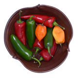 Bowl of Green, Chili and Habanero Peppers Stock Photo