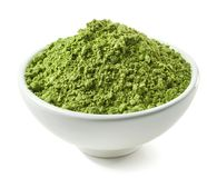 Bowl of green matcha tea powder Royalty Free Stock Photography
