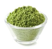 Bowl of green matcha tea powder Royalty Free Stock Photo