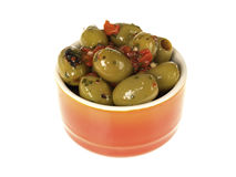 Bowl of Green Olives Royalty Free Stock Photography