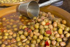 Bowl of Green Olives Royalty Free Stock Image