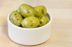 Bowl of green olives Royalty Free Stock Photo