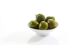 Bowl with green olives Stock Photography