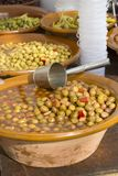 Bowl of Green Olives Stock Images