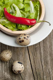 Bowl of green salad with pepper and eggs Stock Photo