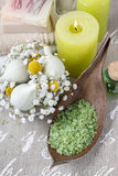 Bowl of green sea salt and scented candles Stock Image