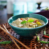 Bowl of green thai curry. Stock Photo