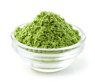 Bowl of green wheat sprouts powder Stock Photos