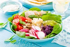 Bowl with grilled chicken meat, bulgur and fresh vegetable salad of radish, tomatoes, avocado, kale and spinach leaves. Healthy a. Nd delicious summer lunch stock photos