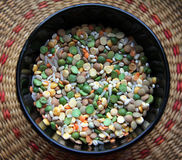 A bowl of groats and beans Royalty Free Stock Photos
