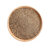 Bowl of ground black pepper isolated on white. Top view royalty free stock images