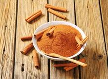 Bowl of ground cinnamon Royalty Free Stock Image