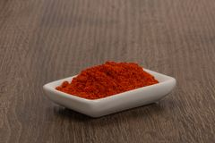 Bowl of ground red pepper spice in bowl.  Royalty Free Stock Photo