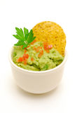Bowl of guacamole  isolated Royalty Free Stock Photography