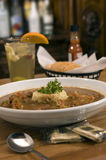 Bowl of gumbo 3. A bowl of gumbo with rice and sangria royalty free stock images