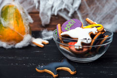 Bowl of Halloween cookies Stock Images