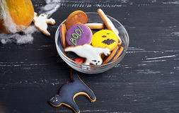Bowl of Halloween cookies Royalty Free Stock Image