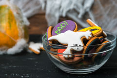 Bowl of Halloween cookies Royalty Free Stock Photo