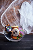Bowl of Halloween cookies Royalty Free Stock Images