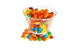 Bowl of hard fruit candy Stock Images
