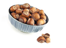 Bowl of hazelnuts Stock Image