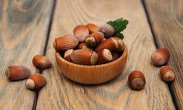 Bowl with hazelnuts Stock Image