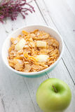 Bowl of healthy breakfast cereal Royalty Free Stock Images