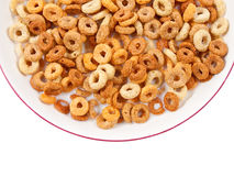 Bowl of healthy breakfast cereals. Isolated on white with clipping path Royalty Free Stock Photography