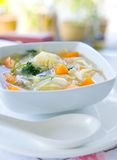 Bowl of healthy cabbage and sweet potato soup Royalty Free Stock Photo