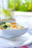Bowl of healthy cabbage and sweet potato soup Royalty Free Stock Image